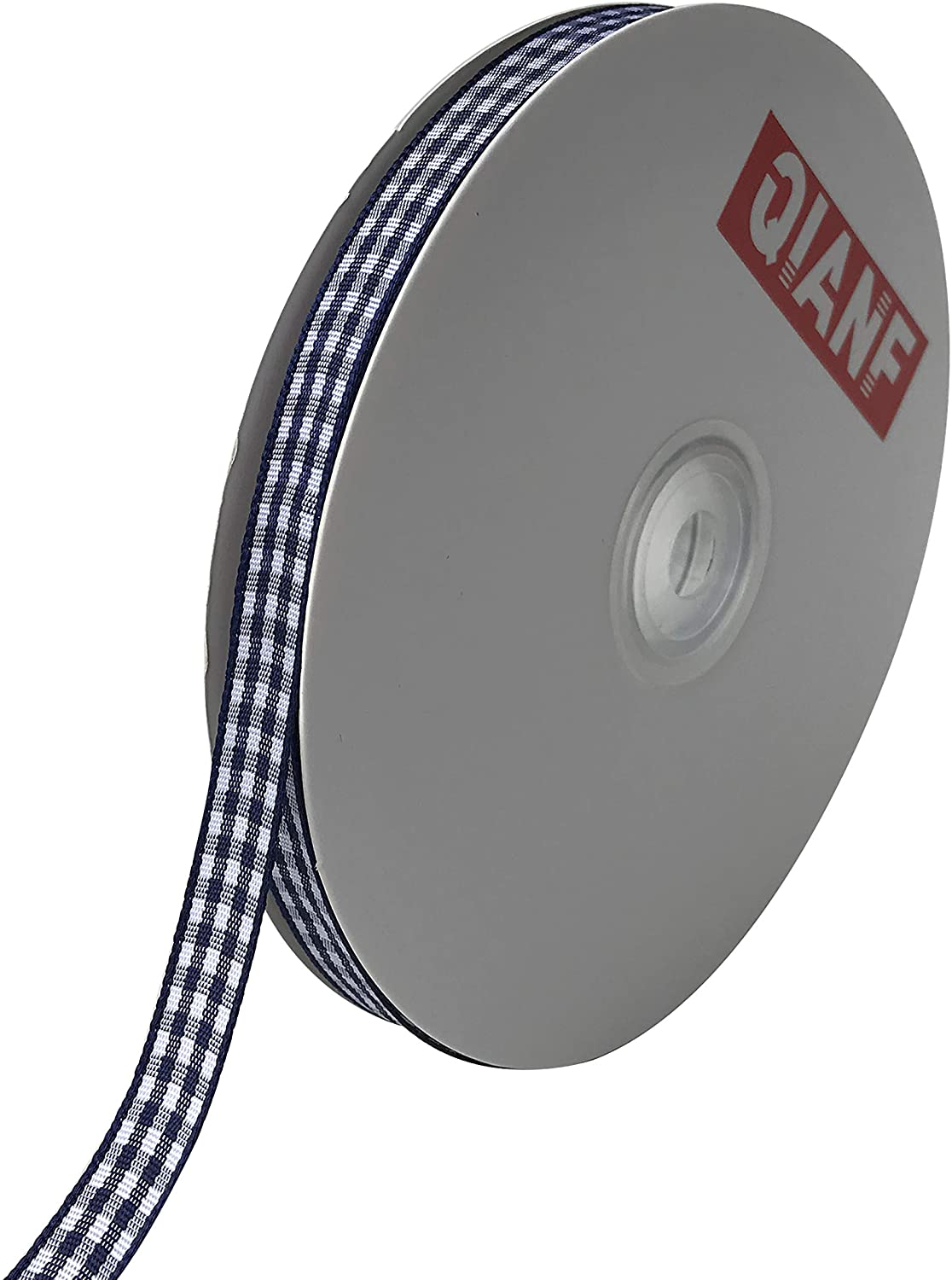 QIANF 1 Inch Wide Gingham Woven Edge Ribbon, Checkered Craft, 50 Yards Long Per Spool(Navy)