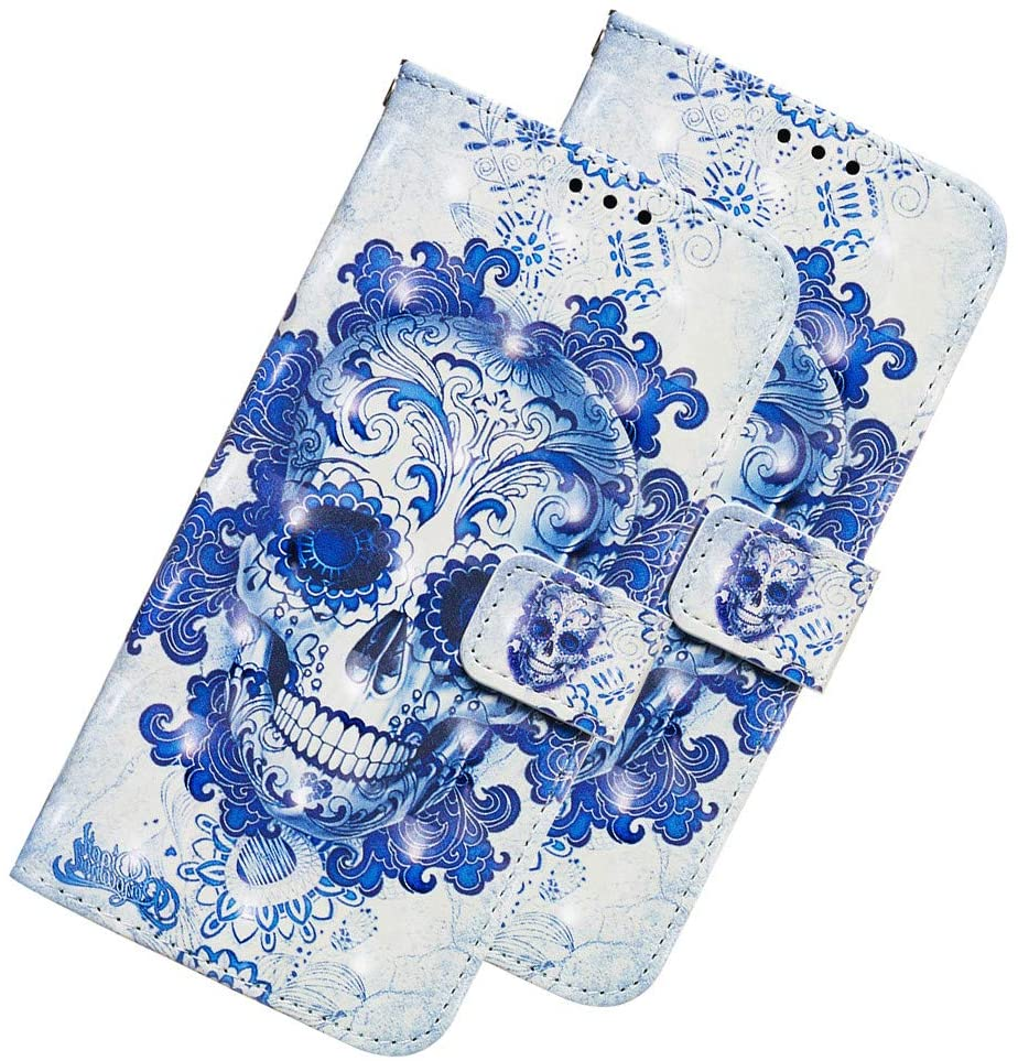 LEECOCO Galaxy S10e Case Shockproof Cover 3D Red Flower PU Leather Flip Notebook Wallet Case Magnetic Stand Holder Slot Bumper Case for Samsung Galaxy S10e 3D Blue Skull YB