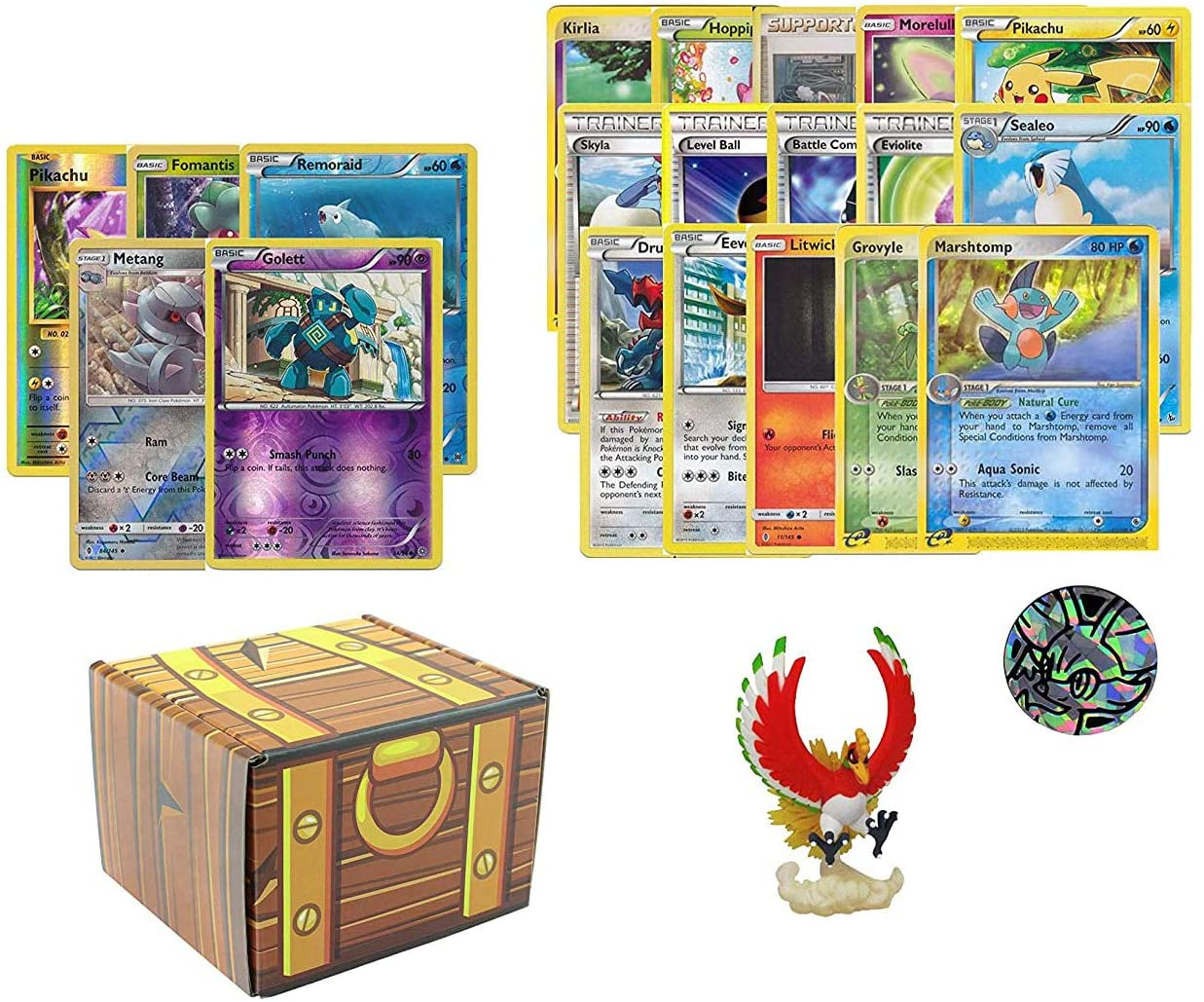 100 Assorted Pokemon Cards: Features 5 Reverse Holos, 1 Pokemon Figure, 1 Pokemon Coin, and 95 Common/Uncommon - All Cards are Authentic - Includes Golden Groundhog Treasure Chest Storage Box