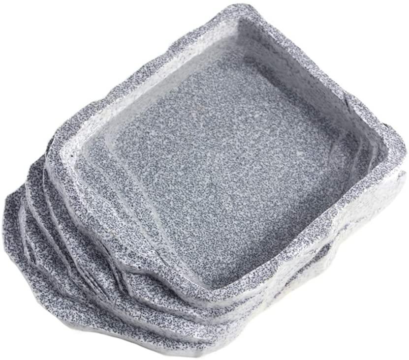 OMEM Reptile Rock Shape Ramp Resin Bowl for Water Food Bath