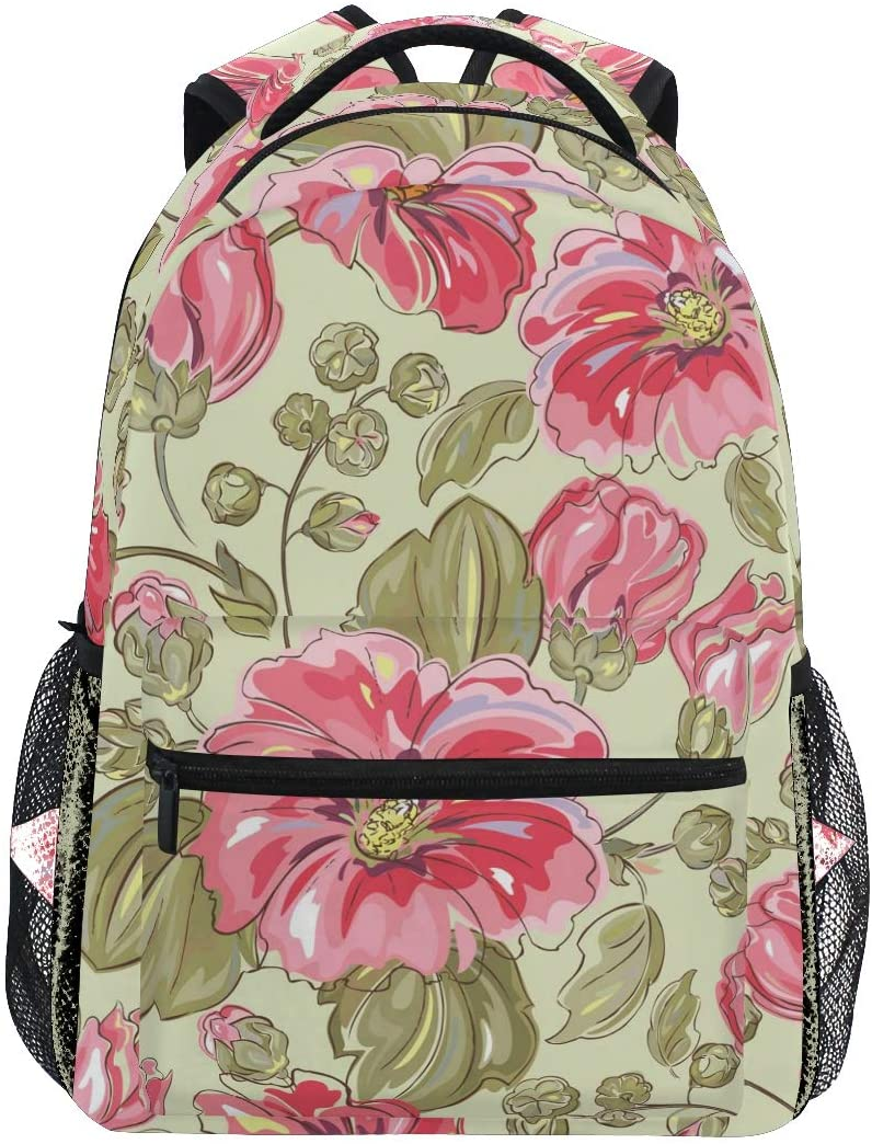 ALAZA Lightweight Backpack for School,Pink Flower Pattern School Bookbags Laptop Backpack Casual Travel for Youth Boys and Girls Back to School