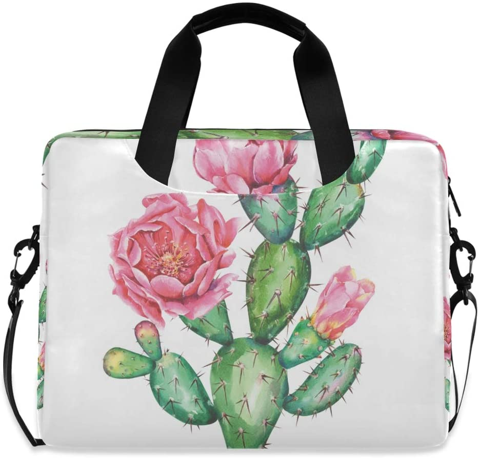 ALAZA Cactus Cacti Flower Floral Laptop Case Bag Sleeve Portable Crossbody Messenger Briefcase w/Strap Handle, 13 14 15.6 inch