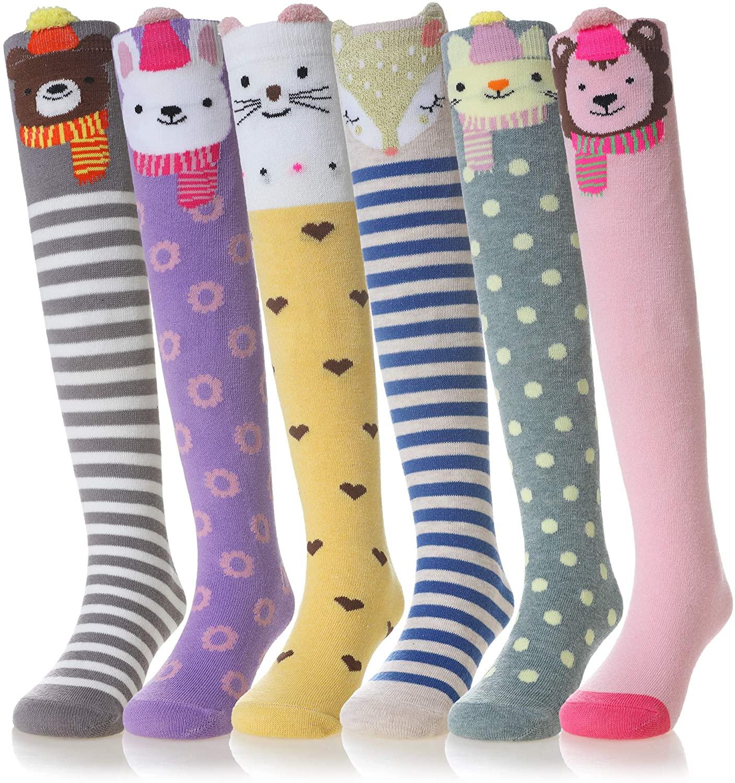 Girls Knee High Cotton Stockings Cartoon Animal Socks 6 Pairs
