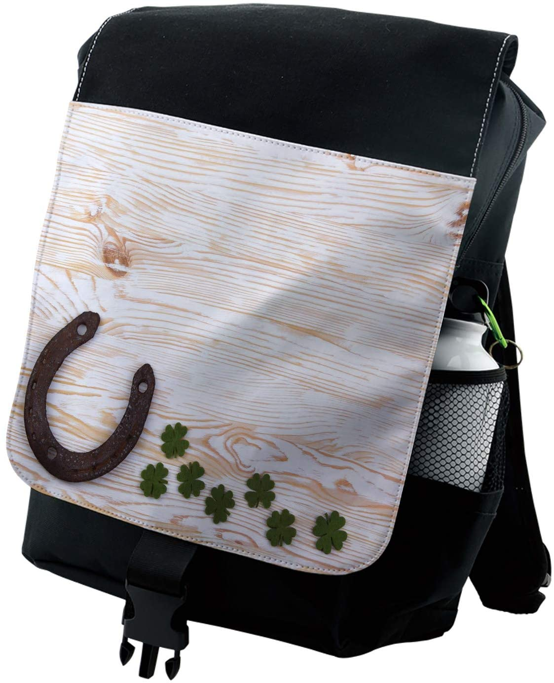 Lunarable Horseshoe Backpack, 4 Leaf Clovers Wood, Durable All-Purpose Bag