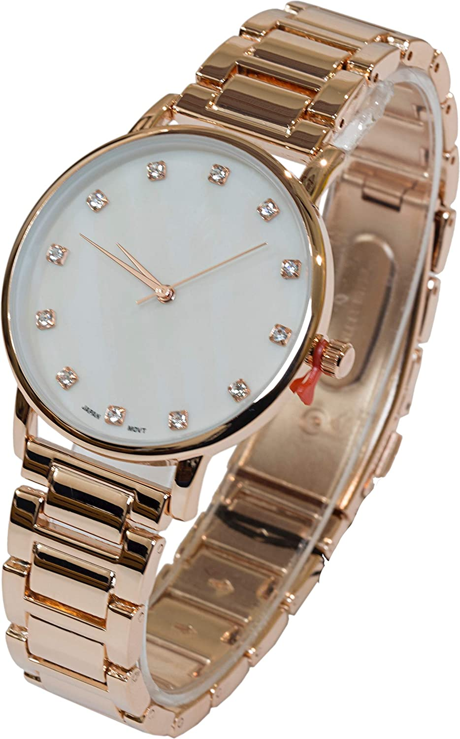 Blekon Collections Japanese Quartz Womens Mother of Pearl Dial Bracelet Link Watch