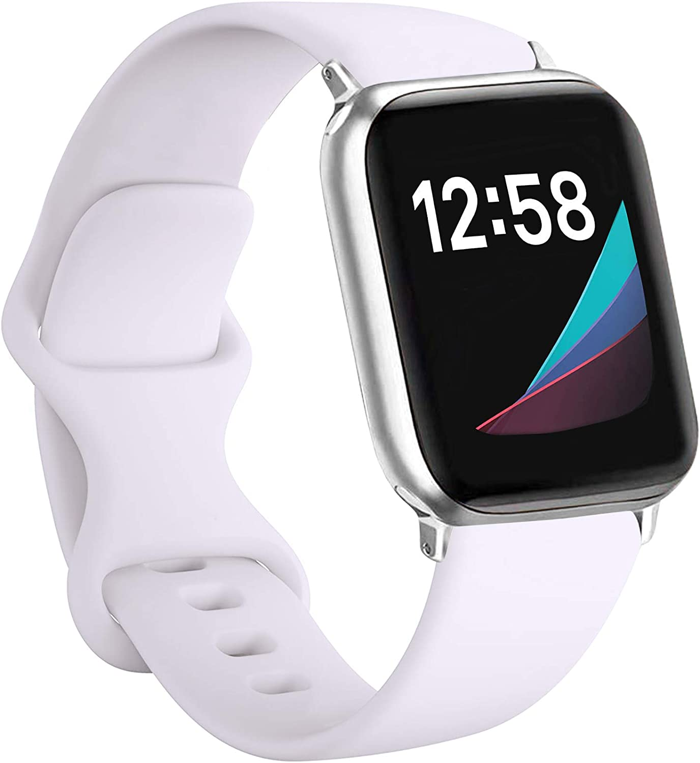 LAXMR Compatible with Apple Watch Band 38mm 40mm 42mm 44mm,Sport Silicone Band Replacement Strap for Series 6, Series 5, Series 4, Series 3, Series 2, Series 1 S/M, M/L (White, 42/44mm-M/L)