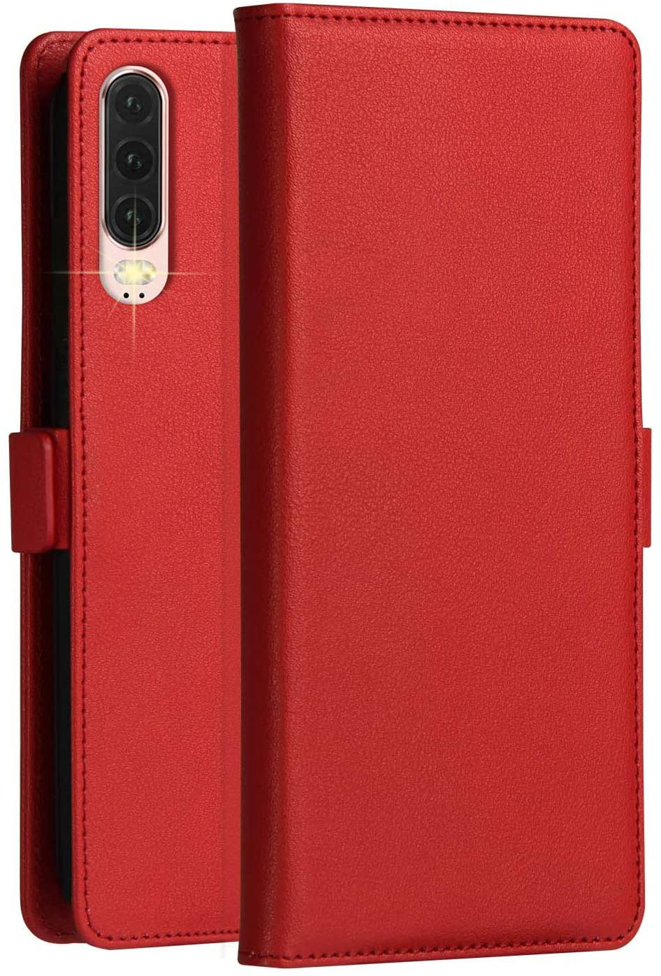 Huawei P30 Case KumWum Leather Wallet Cover with Flip Folio Kickstand and 3 Card Slots Magnetic Latch Closure Full Body Protective Cover for P30 (Red)