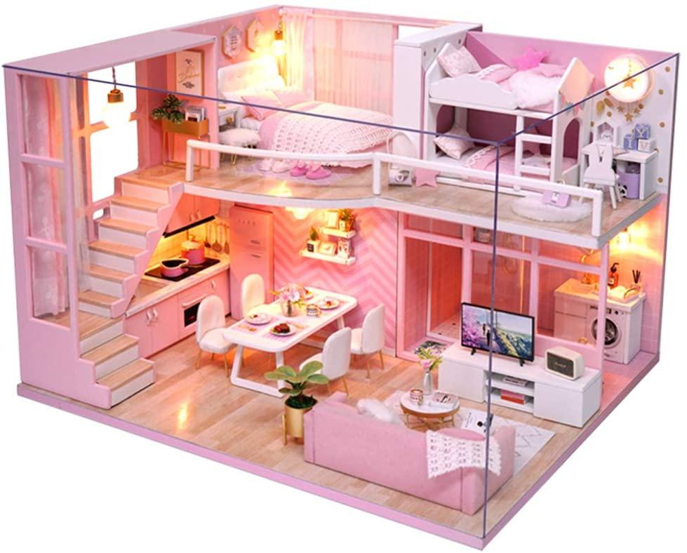 Felenny DIY Miniature Dollhouse Kit Wooden Handmade Furniture Miniature Toyhouse Pink Girl Wooden Loft Doll House Model Kits Toy Gift