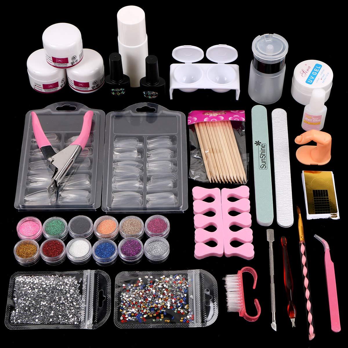 Acrylic Nail Art Tools Set Acrylic Nail Powders Glitters Brushes False French Nail Tips Nail Tips Cutter Nail Gels Full Nail Art Decoration Tools Set