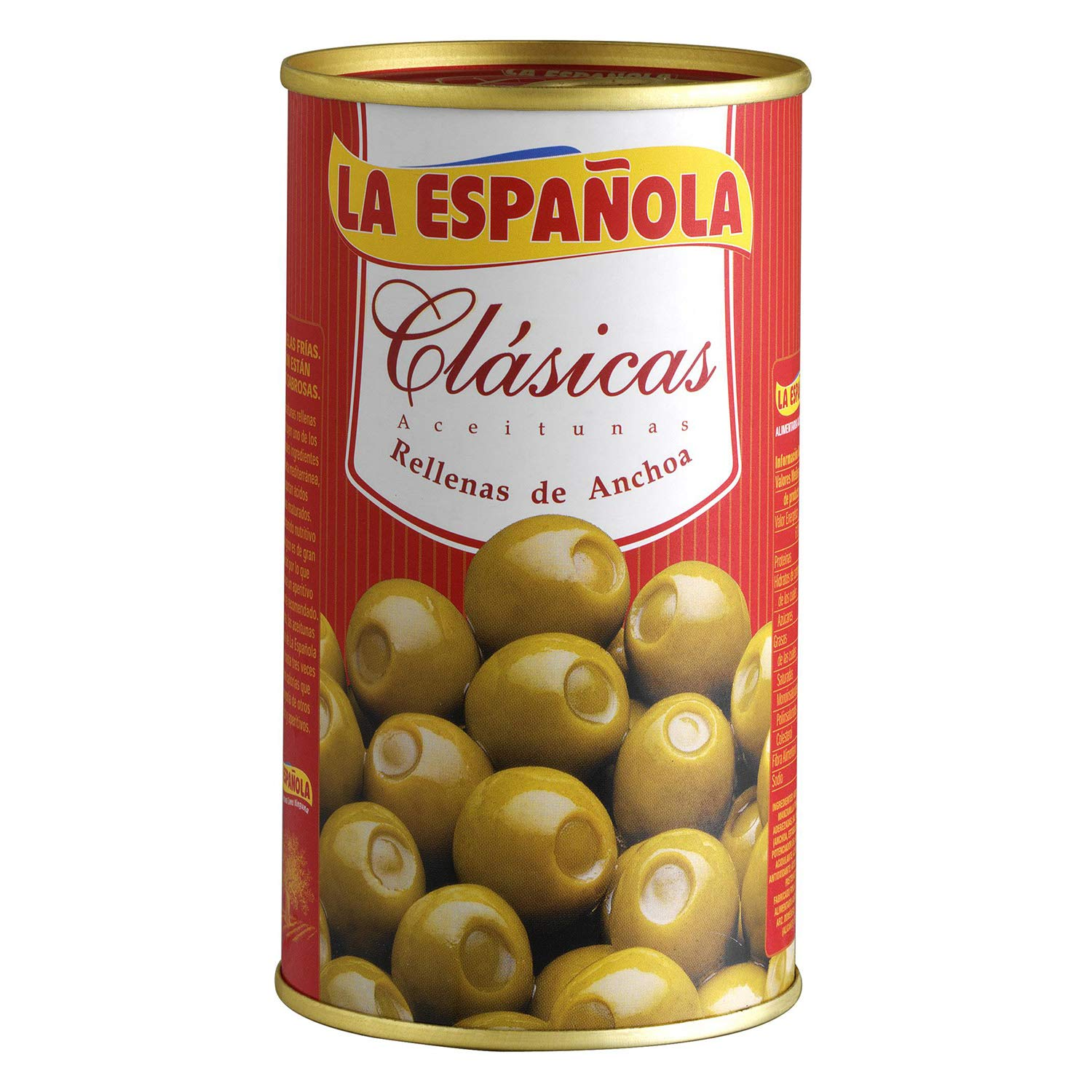 La Espanola. Clasicas Green Olives stuffed with Anchovies. 350g (12,35oz). Pack of 6