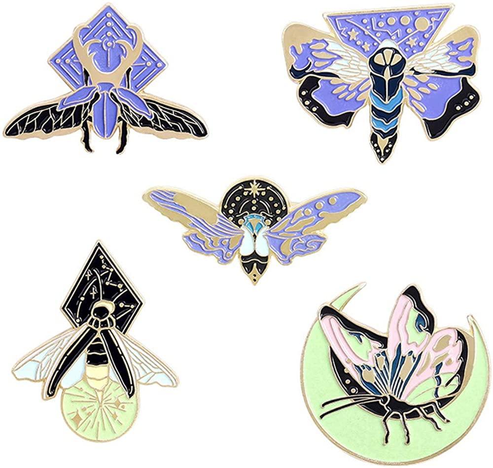 GYAYU Luminous Brooch Enamel Moth Insect Pin Lapel Pin Safety Pin for Women