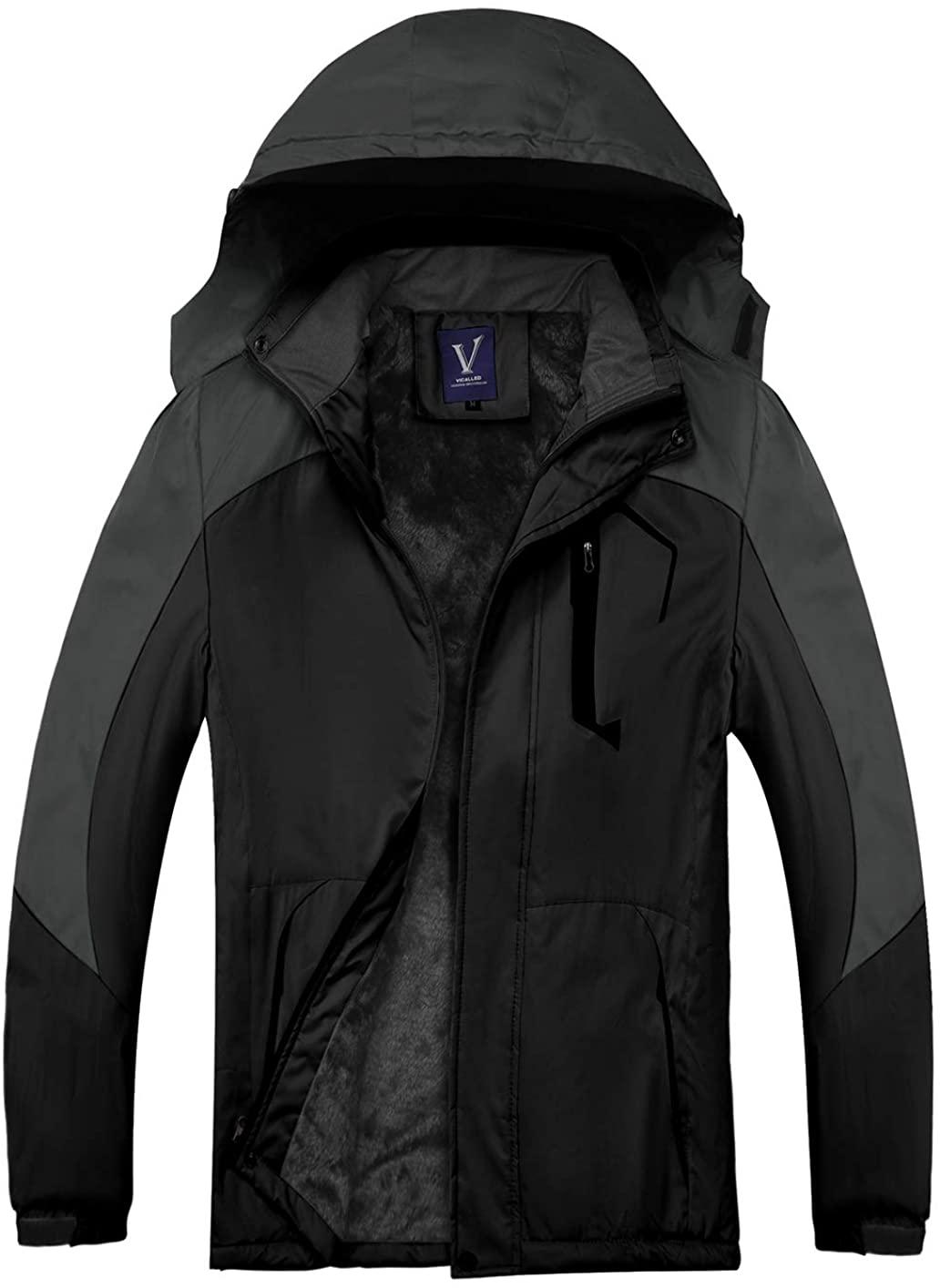 VICALLED Men's Outdoor Mountain Ski Jacket Snow Waterproof Fleece Windproof Skiing Rain Jackets Winter Hooded Coat