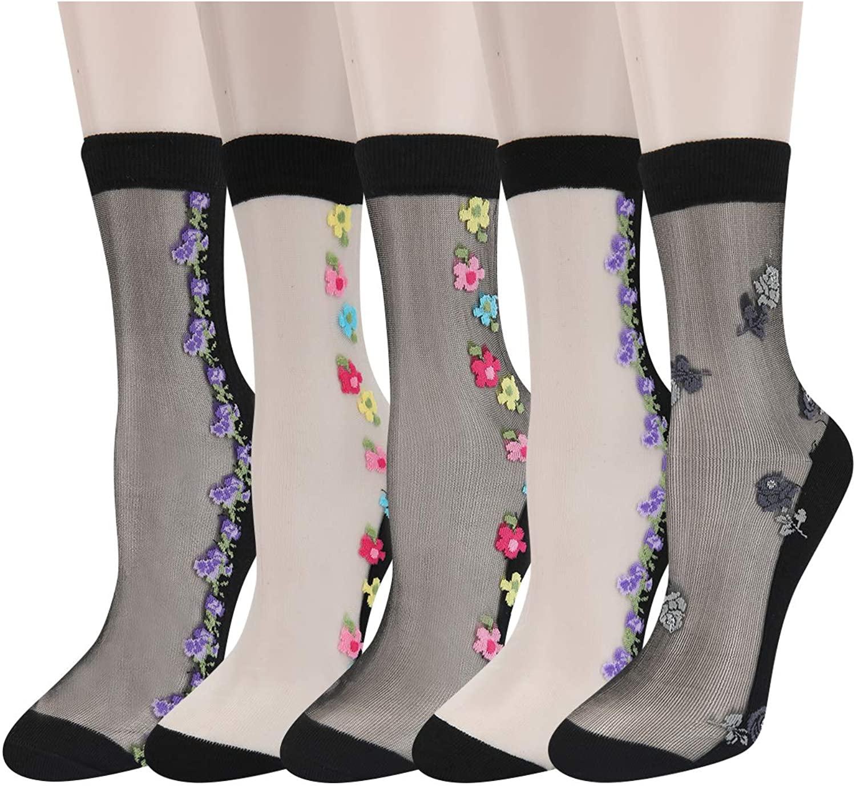 Womens Girls Sheer Transparent Mesh Nylon Socks Cute Colorful Lace Ultrathin See Through Novelty Ankle Socks
