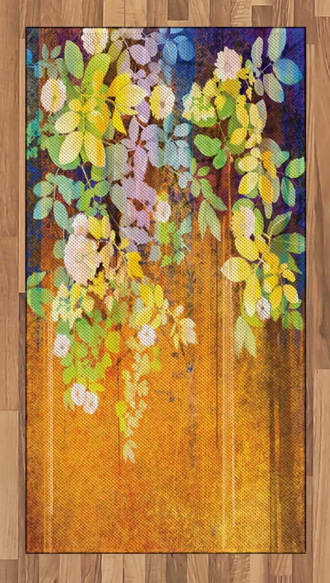 Ambesonne Watercolor Flower Area Rug, Soft Colored Spring Flowers and Leaves on Misty Retro Backdrop Nature Art, Flat Woven Accent Rug for Living Room Bedroom Dining Room, 2.6' x 5', Multicolor