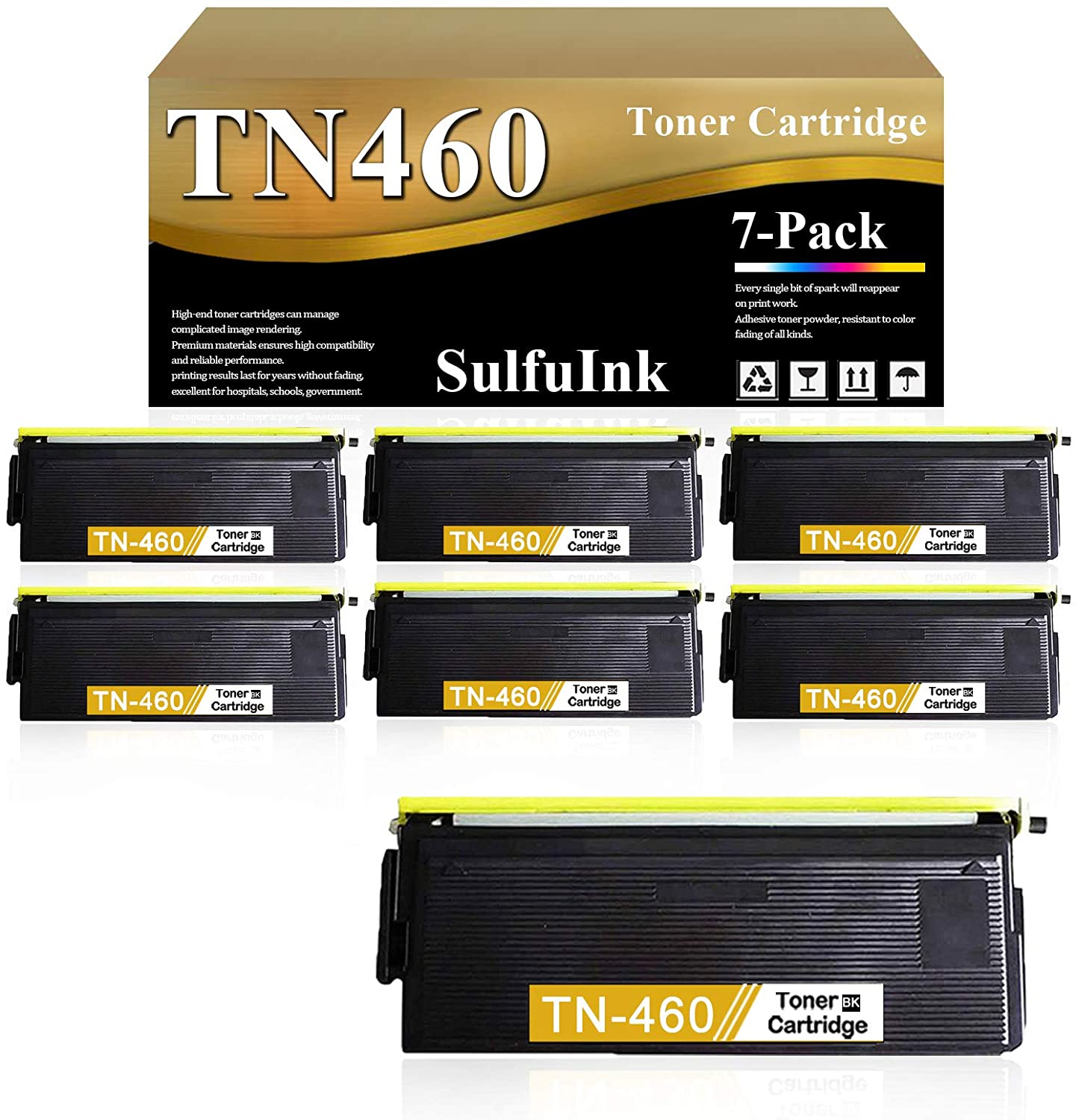 Compatible TN460 TN-460 Toner Cartridge (Black,7-Pack) Replacement for Brother HL 1200 1250 1240 8350P 1440 1430 9650 1650 1850 MFC 2500 8300 5750 8700 DCP 1200 1400 Laser Printer Toner Cartridge.