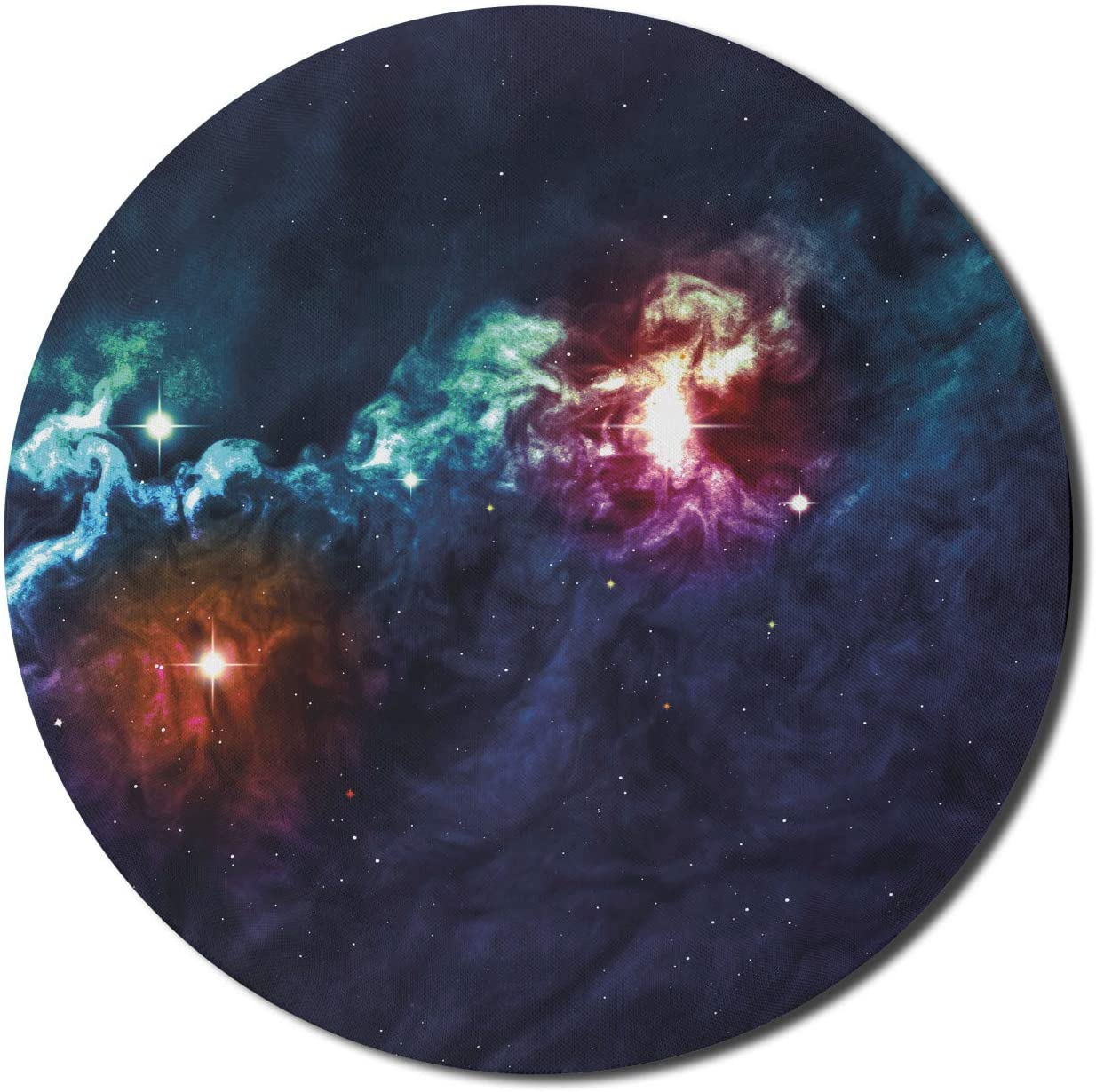 Ambesonne Space Mouse Pad for Computers, Galactic Image on Milky Way with Colorful Alluring Cosmos Display Artwork Print, Round Non-Slip Thick Rubber Modern Gaming Mousepad, 8