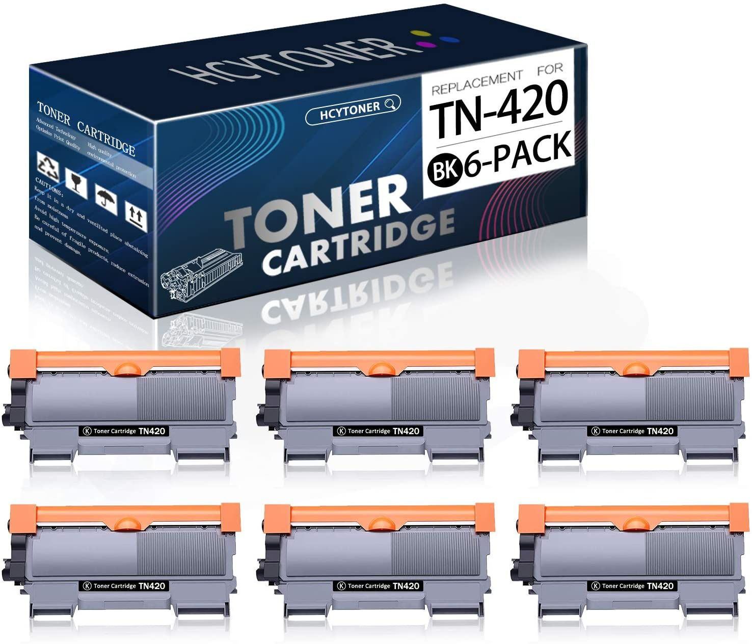 (6-Pack,Black) TN420 TN-420 Toner Cartridge Replacement for Brother Cartridge TN420 Toner Compatible MFC-7240 7360N 7365DN 7460DN DCP-7060D 7065D Intellifax 2840 2940 HL-2130 2132 2220 2230 Printer