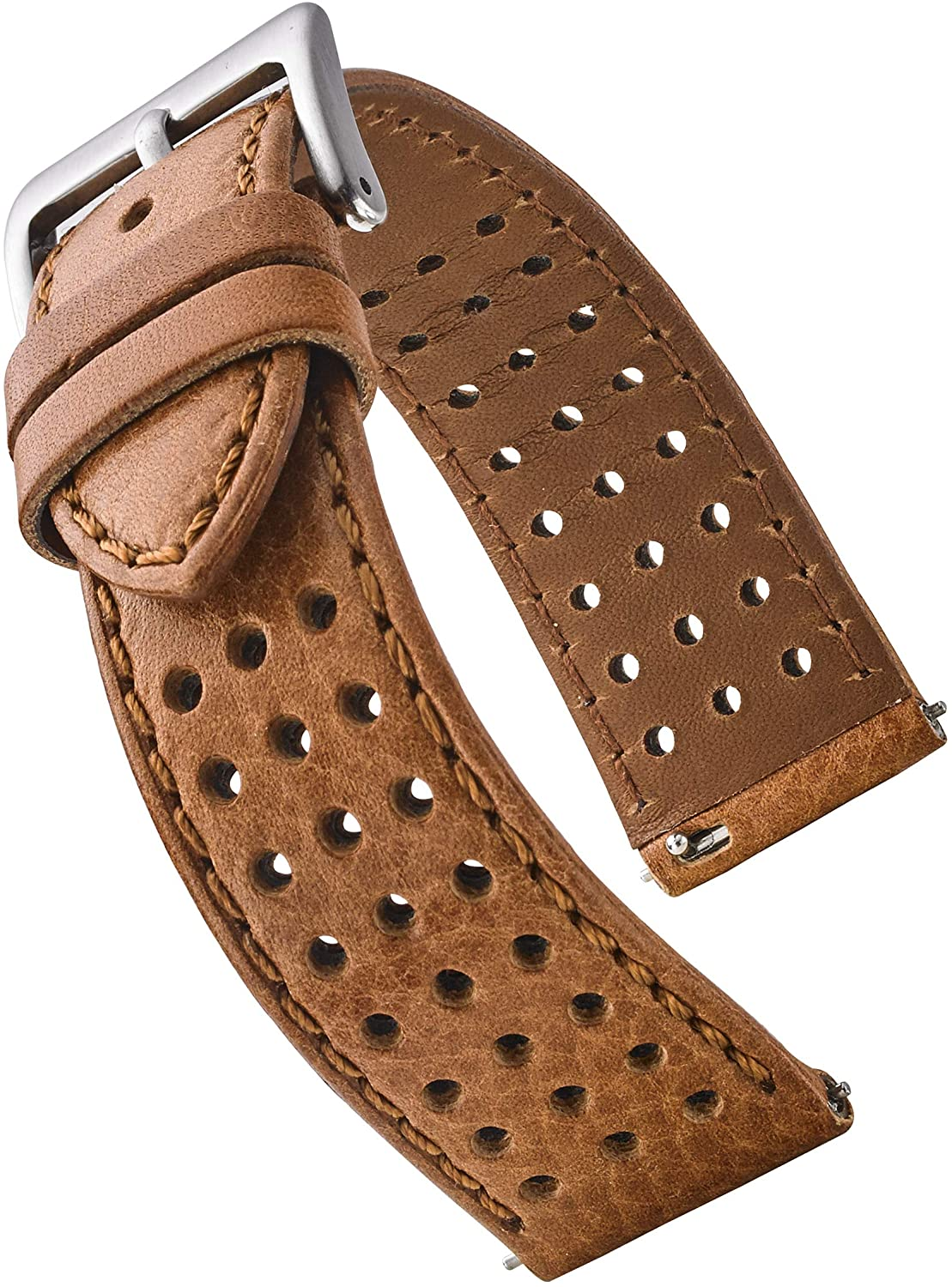 Alpine Soft and Smooth Genuine Perforated Leather Watch Band - Black, Brown, Tan - 18 mm, 20 mm, 22 mm