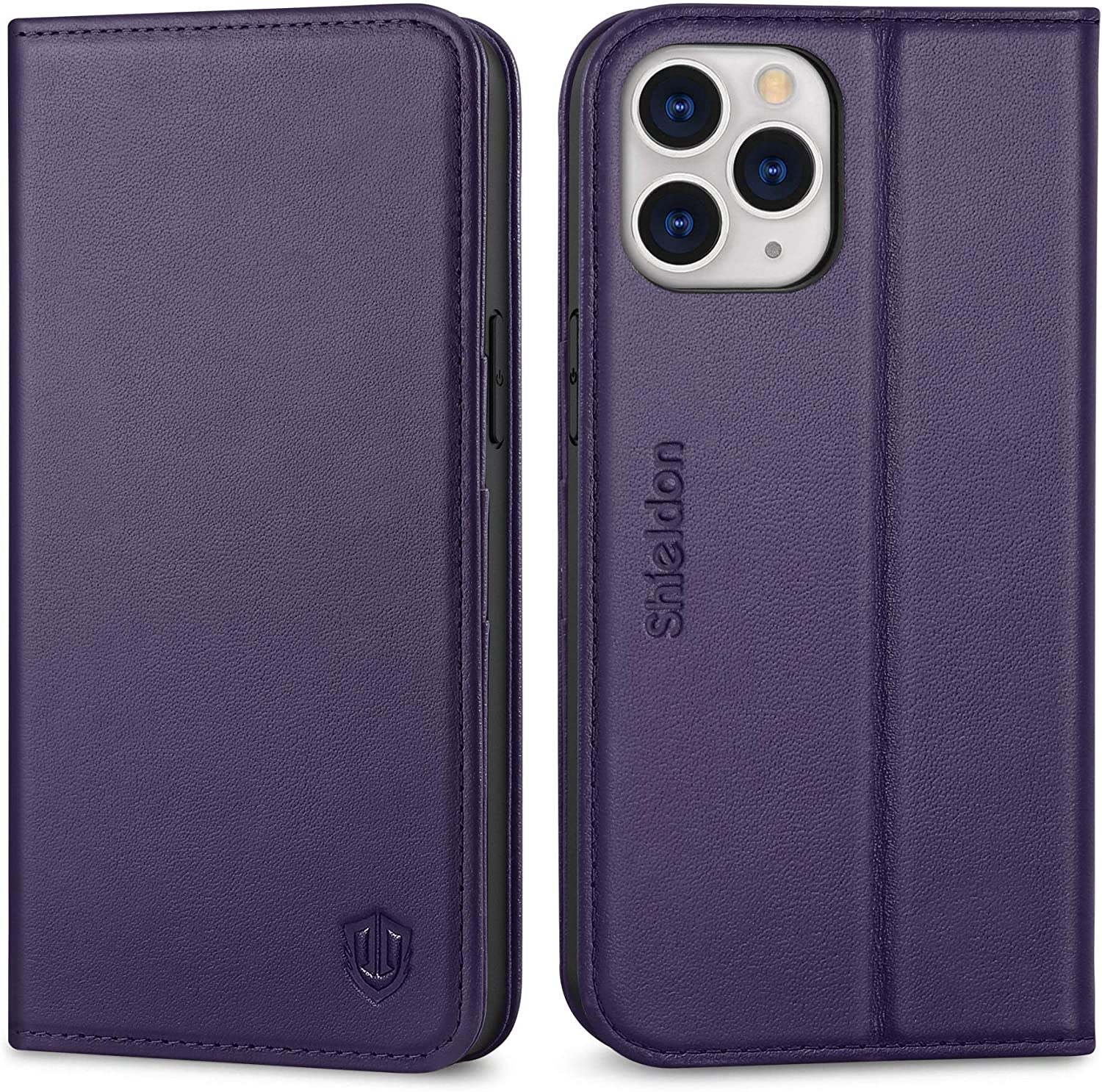 SHIELDON Case for iPhone 12 Pro Max, Genuine Leather Wallet Flip Cover Kickstand RFID Blocking Card Slots Magnetic Closure Shockproof Case Compatible with iPhone 12 Pro Max 5G (6.7 Inch) - Dark Purple