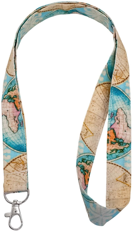 LNKRE JEWELRY Aqua Blue Maps Print Neck Lanyard for Keys,ID Holder,Wallet,Card Holder for Womens,Student,Girls,Teacher - Soft Neck Strap Key Chain Fabric Holder