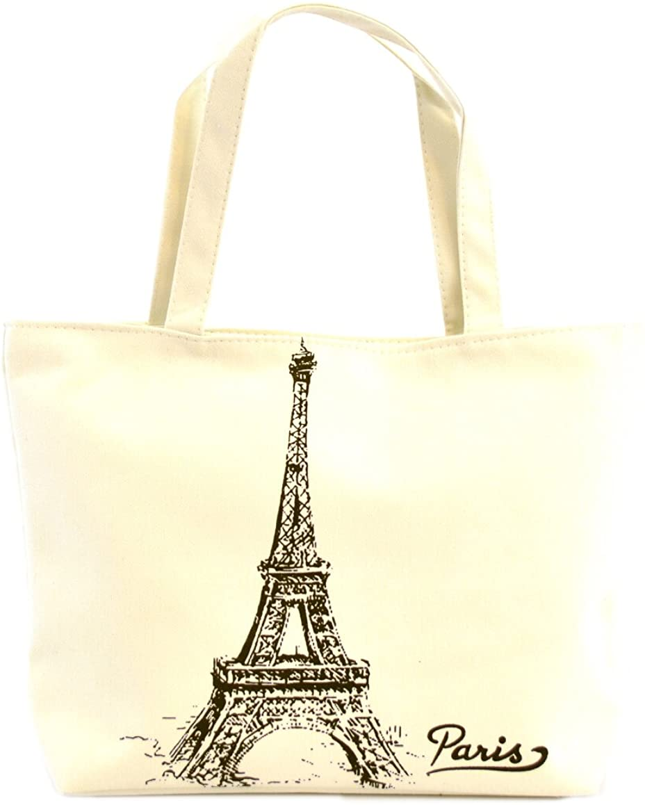 LSW Eiffel Tower Canvas Shoulder Tote Bag