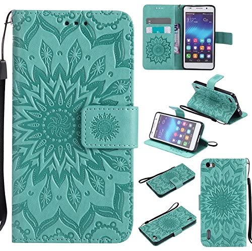 Zhusha Sun Flower Printing Design PU Leather Flip Wallet Lanyard Protective Case With Bracket Card Slot For Huawei Honor 6 (5.0 inch) ( Color : Green )