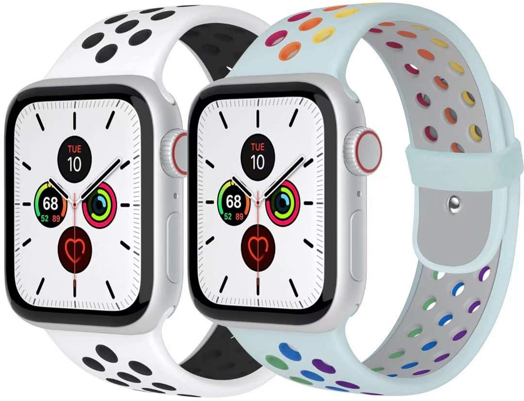 Zsuoop Sport Watch Band Compatible with Apple Watch Bands 38mm 40mm 42mm 44mm,Soft Silicone Wristband for Apple Watch Series 6/SE/5/4/3/2/1,2pack,Pride-Turquoise/White&Black-38S