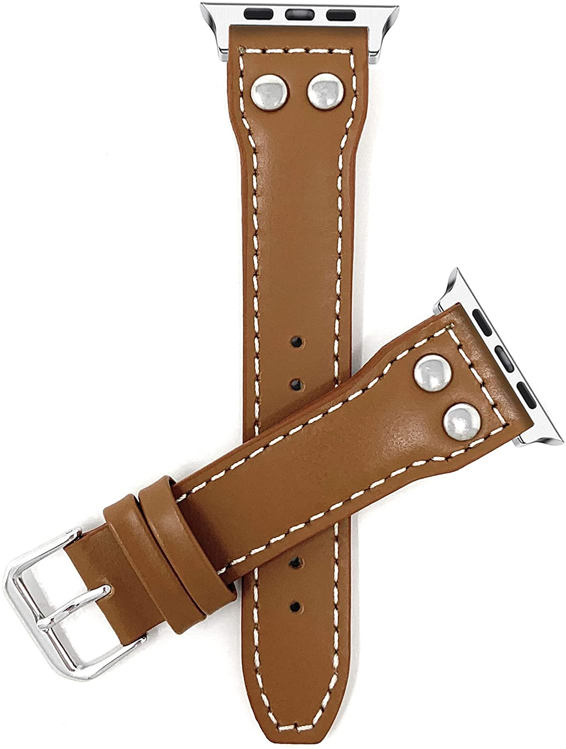 Bandini Compatible Apple Watch Band, Leather Replacement Watch Band for iWatch Strap, Compatible Apple Watch Series 5, 4, 3, 2 and 1-2 Rivets - Tan/Silver Connector - 38mm / 40mm