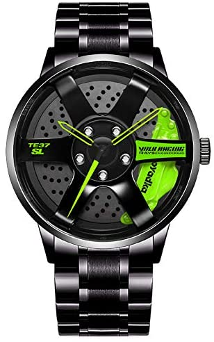 Herfeir Watches for Men Waterproof Stainless Steel Quartz Wrist Watch Sports Men's Watches with Car Wheel Rim Hub Design