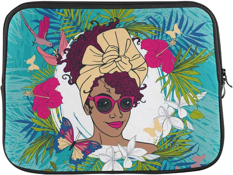 INTERESTPRINT Laptop Sleeve Case Cover Beautiful African American Woman Notebook Computer Pouch Bag 15.4 Inch 15.6 Inch