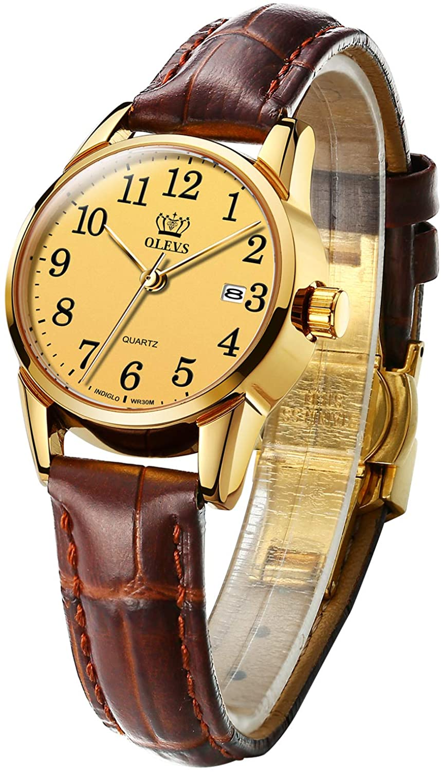 OLEVS Gold Watches for Women Fashion Comfortable Leather Strap Waterproof Easy Reader Quartz Wrist Watch Gifts for Women