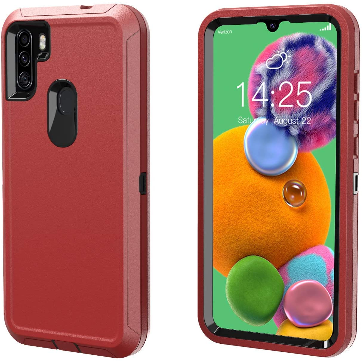 Phone Case for Galaxy A11- Dual Layer Full Body Shockproof High Impact Protective Hard Plastic Soft TPU with Tough Phone Cover Cases for Samsung A11 Case (Red)