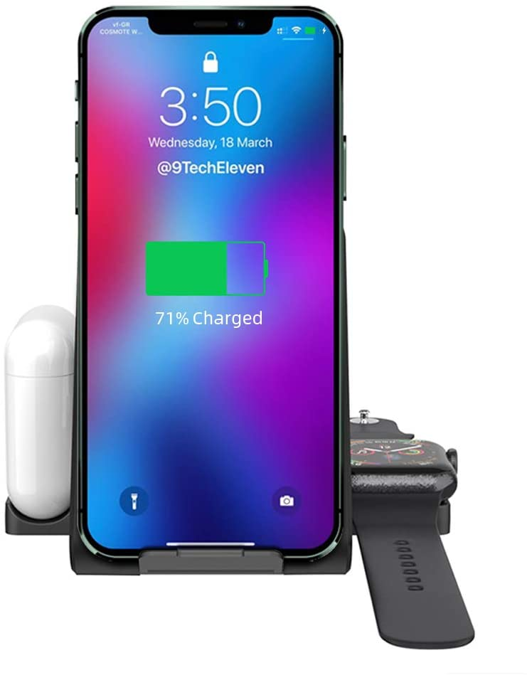 Wireless Charger, 3 in 1 Fast Wireless Charging Station for iPhone 12/11/11 pro/11 Pro Max/XS/XS Max/XR/8/8 Plus/SE/AirPods/Apple Watch Series/,Adjust Wireless Charging Stand for Samsung Series