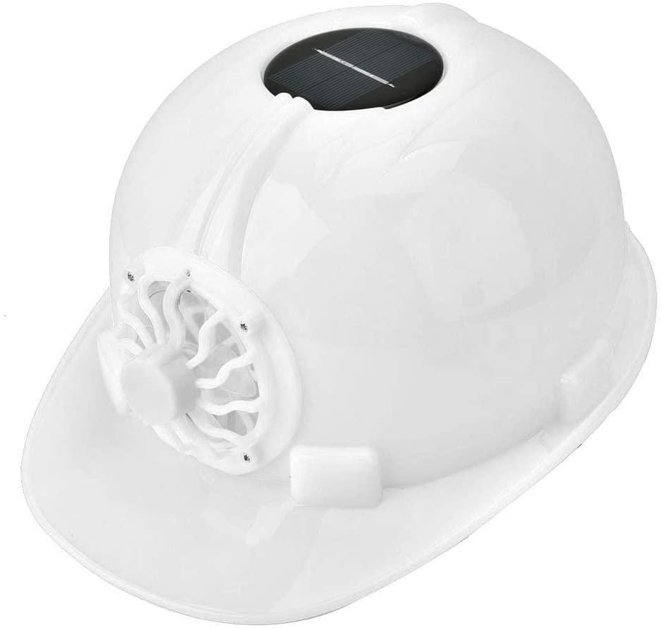 Solar Power Fan Safety Helmet High Strength Impact Resistance Work Helmet for Construction Site, Interior Decoration, Warehouse Handling(White)