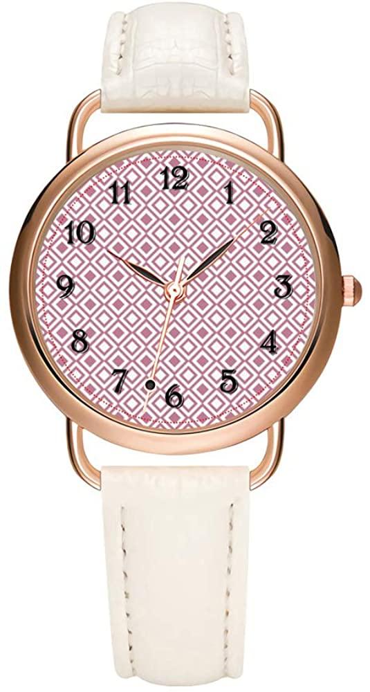 Women's Watches Brand Luxury Fashion Ladies Watch White and Black Leather Band Gold Quartz Wristwatch Female Gifts Clock Girly Pink Geometric Diamonds Wristwatch