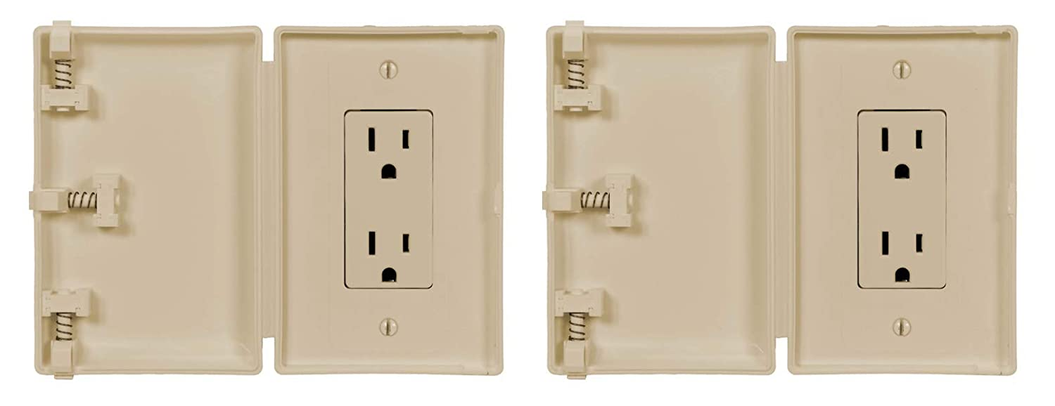 Child Be Safe, Baby and Toddler Resistant Electrical Safety Cover Guard for Home and Business, Modern Wide Outlet (Ivory, 2-Pack)