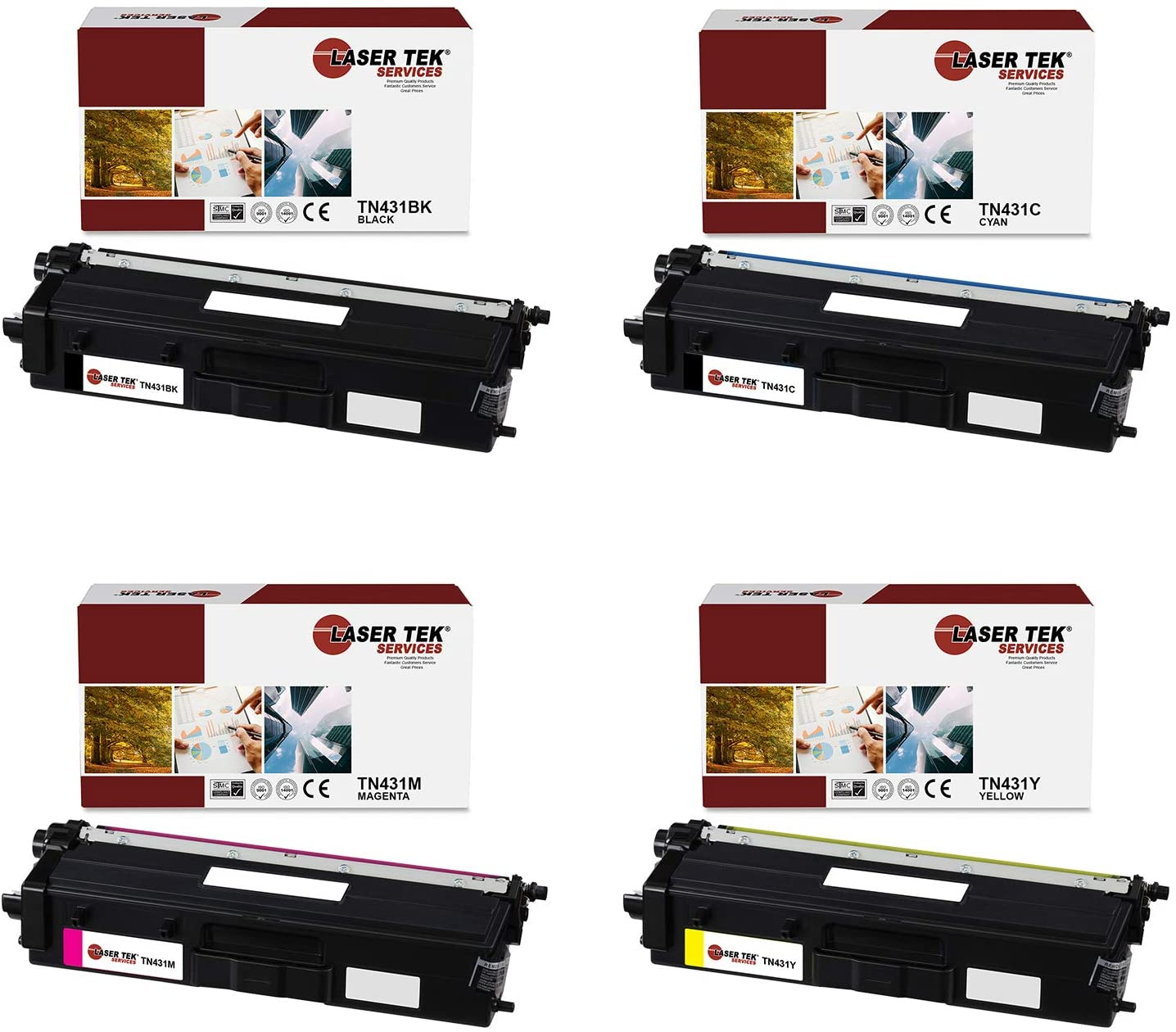 Laser Tek Services Compatible Toner Cartridge Replacement for Brother TN-431K TN-431C TN-431M TN-431Y. (Black, Cyan, Magenta, Yellow, 4-Pack)