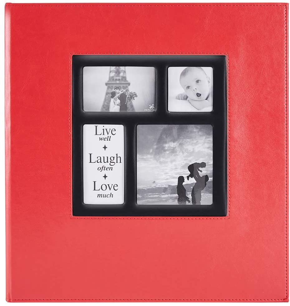Ywlake Photo Album 1000 Pockets 6x4 Photos, Extra Large Size Leather Cover Slip in Wedding Family Photo Albums That Holds 1000 6x4 / 10x15cm Photos Pictures Red