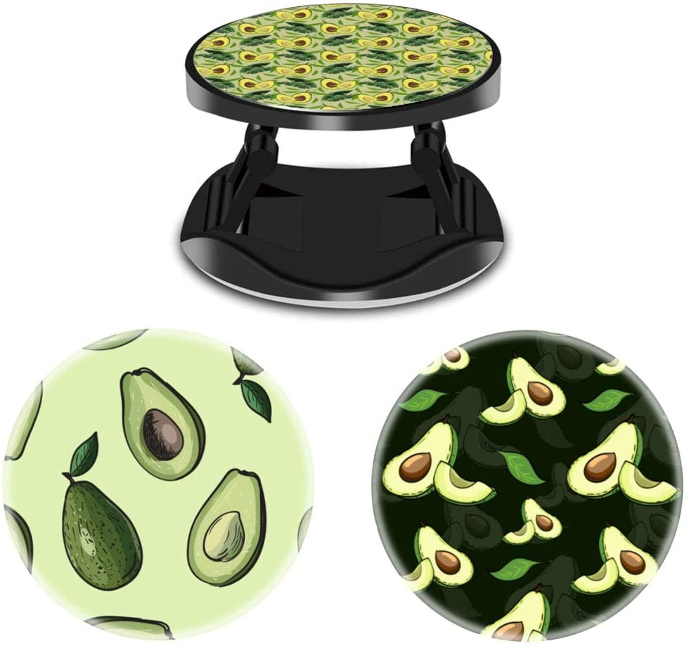 (3 Pack) Cell Phone Holder Avocado and Tropical Leaves Expanding Grip Stand Finger Kickstand for Smartphone and Tablets