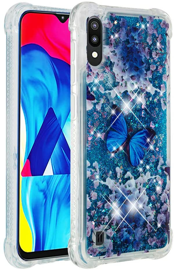 ISADENSER Samsung Galaxy A10 Case Clear Soft TPU Glitter Stylish Design with air Thicked Corner 3D Hearts Quicksand Shiny Flowing Liquid Protective Cover for Samsung Galaxy A10 Blue Butterfly YB