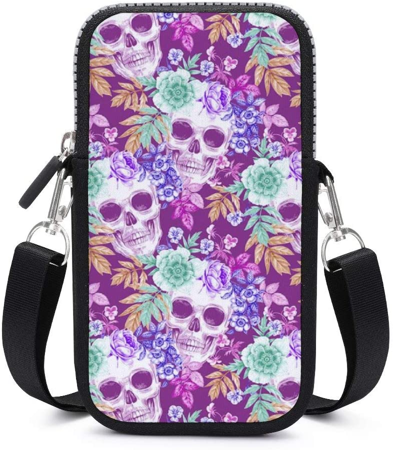 Women Girls Lightweight Soft Mini Pouch Shoulder Bag Small Crossbody Cell Phone Bag Handbag Purse Wallet with Adjustable Strap (Mexican Sugar Skulls Flowers Purple)