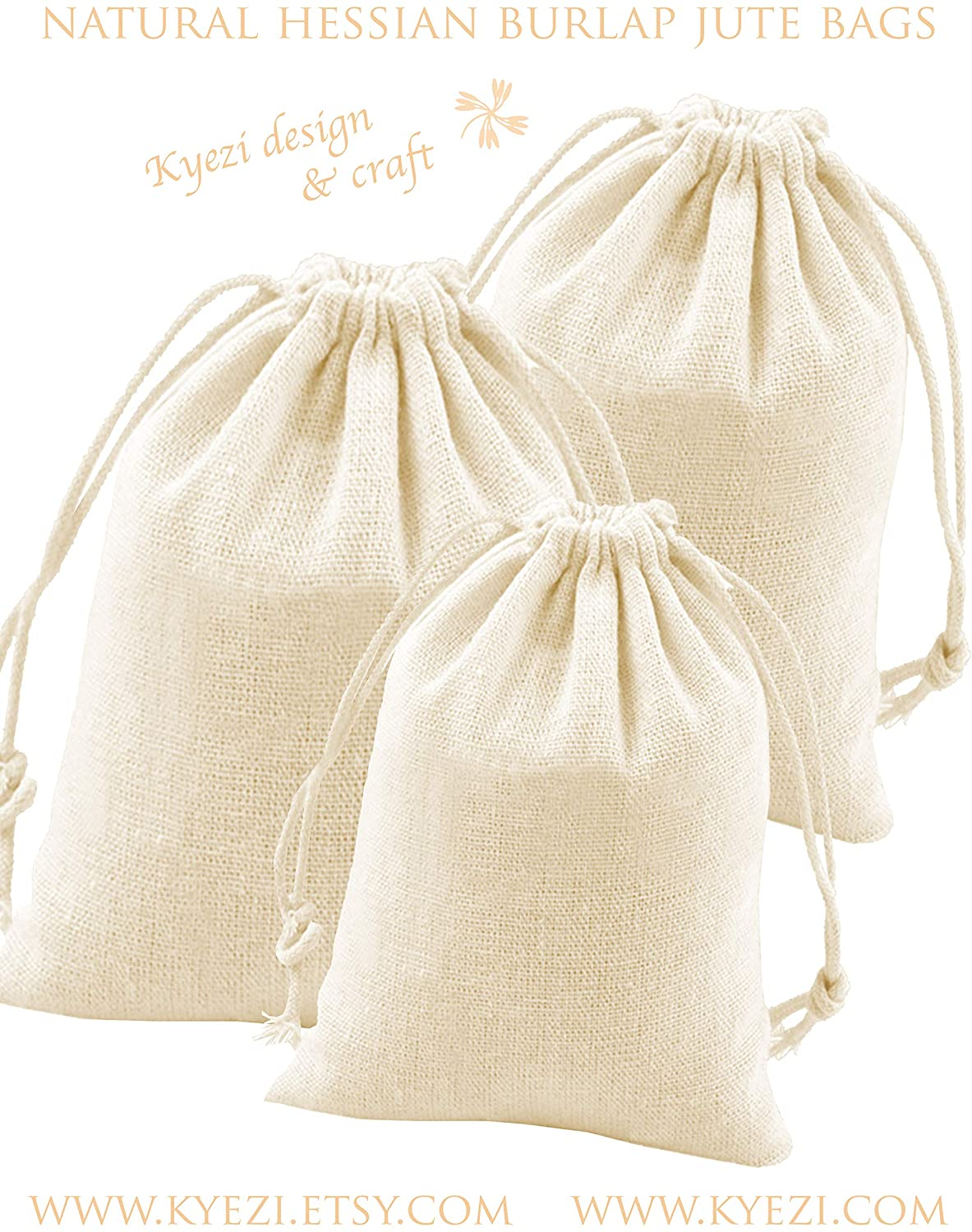 Hessian Burlap Jute Linen Gift Bags with Drawstring for Wedding Part Favor, Candy Bags, Presents, Snacks & Jewelry, Christmas, Arts & Crafts Projects (Cream, 4x6 25pc)