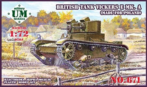 VICKERS E MK.A BRITISH TANK (MADE FOR POLAND), RUBBER TRACK 1/72 UNIMODEL UMT671