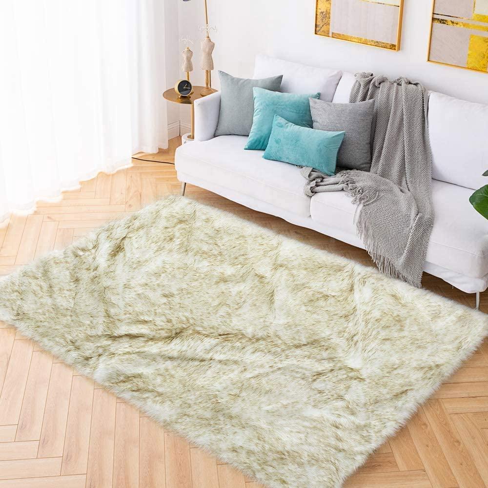 Carvapet Shaggy Soft Faux Sheepskin Fur Area Rugs Floor Mat Luxury Beside Carpet for Bedroom Living Room 6ft x 9ft, White with Brown Tips