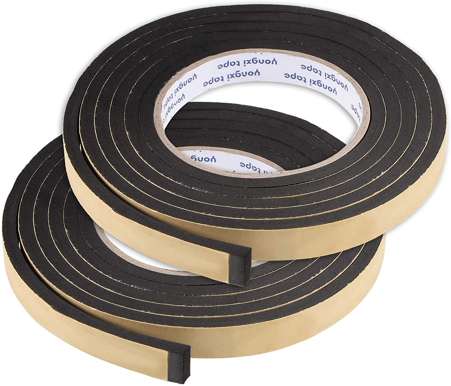 uxcell Sealing Foam Tape 15mm Wide 5mm Thick 2m/6.56ft Long, EVA Self Adhesive Weather Strip for Window Door Insulation, Pack of 2