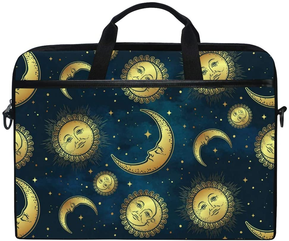 MRMIAN Gold Celestial Bodies Moon Sun 15 inch Laptop Case Shoulder Bag Crossbody Briefcase Messenger Sleeve for Women Men Girls Boys with Shoulder Strap Handle, Back to School Gifts for Her Him