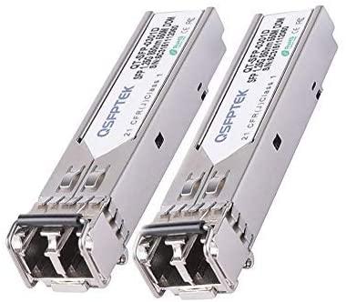 QSFPTEK Gigabit SFP Module Multimode 850nm 550m DDM LC Mini-GBIC 1000BASE-SX Transceiver for Cisco GLC-SX-MMD/GLC-SX-MM, Ubiquiti UF-MM-1G, Netgear, Mikrotik, Other Open Switches (2 Pack)