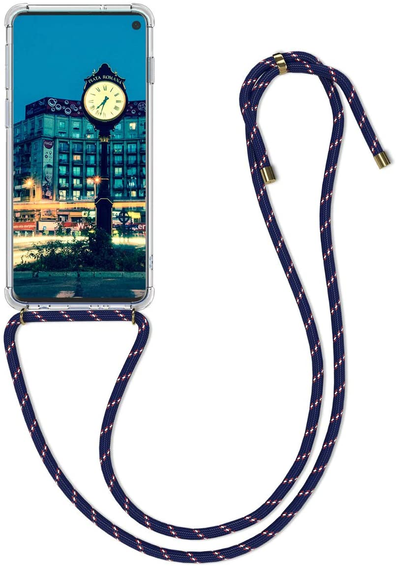 kwmobile Crossbody Case Compatible with Samsung Galaxy S10 - Clear Transparent TPU Cell Phone Cover with Neck Cord Lanyard Strap - Dark Blue/Transparent