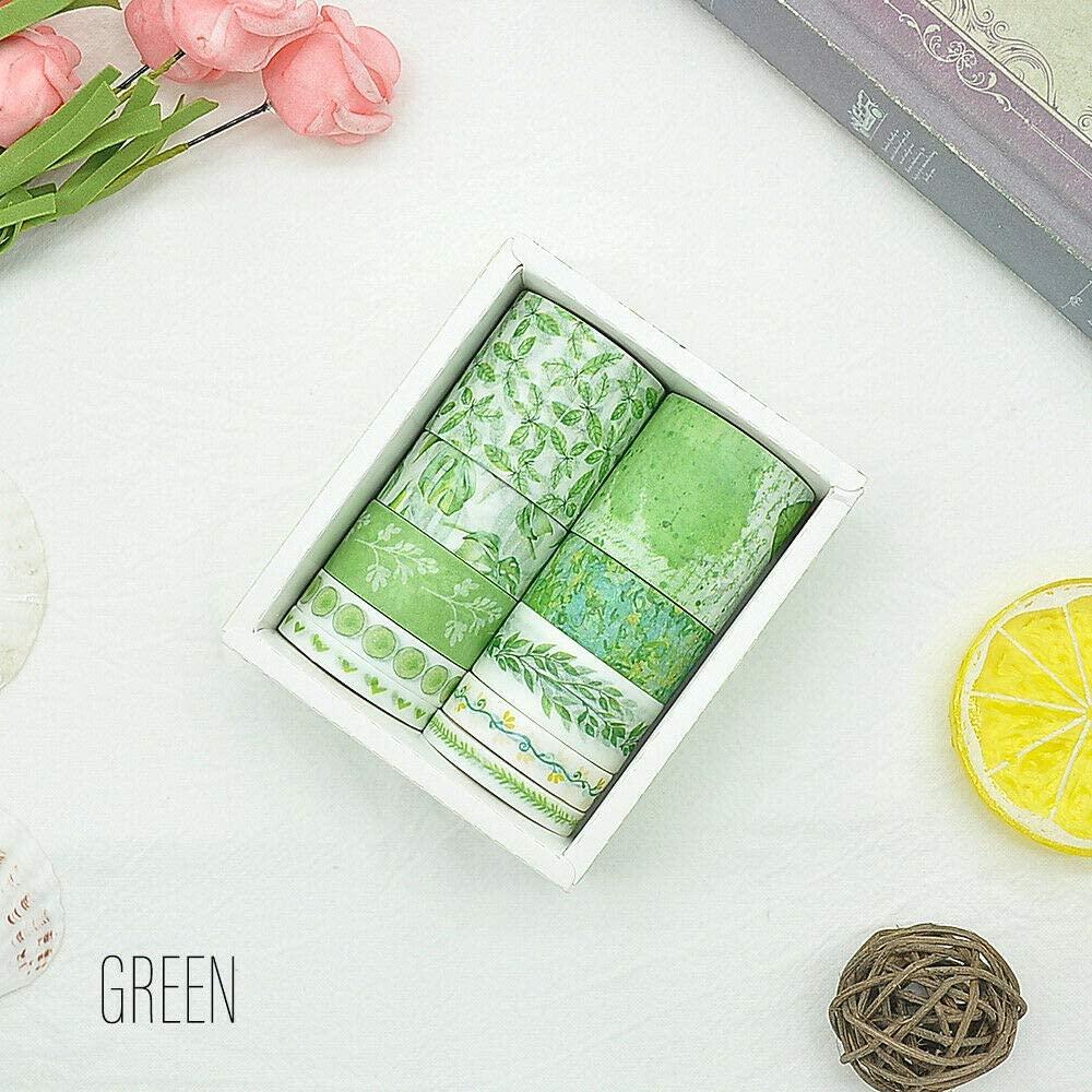 HS store 10 Rolls Elegant Washi Tape Decorative Scrapbooking Paper Adhesive Sticker Craft (Green)