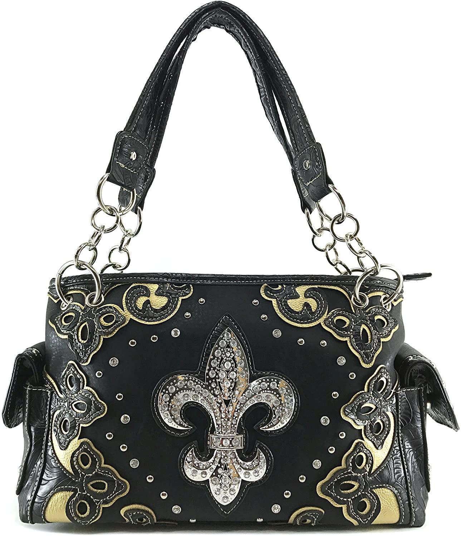Justin West Floral Embroidery Cutout Stud Rhinestone Fleur De Lis Shoulder Handbag with Concealed Carry